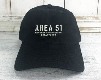 Area 51 Dad Hat Lit Embroidered Baseball Cap Curved Bill 100% Cotton  Reverse Engineering Dept. Black Ops Aliens UFO bd484792e452