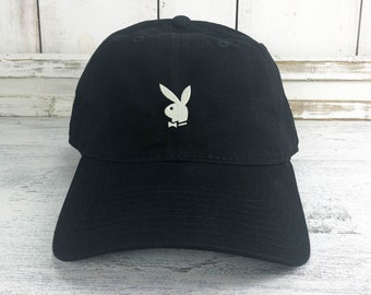 3354a219073 Player Bunny Dad Hat Lit Embroidered Baseball Cap Curved Bill 100% Cotton B  Boy B Girl Playboy
