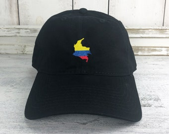 6190b39fc5e98d Colombia Map Dad Hat Baseball Cap Lit Hip Hop Viva Columbia