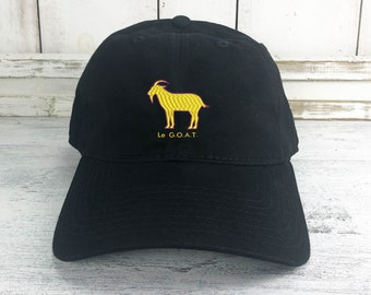 Le GOAT Dad Hat Lit Embroidered Baseball Cap Curved Bill 100% Cotton LeBron  Lakers 44eb6b776f74