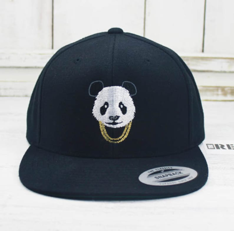 Panda Gold Chains Flat Bill Snapback Embroidered Yupoong Brand  be2975aa3a0