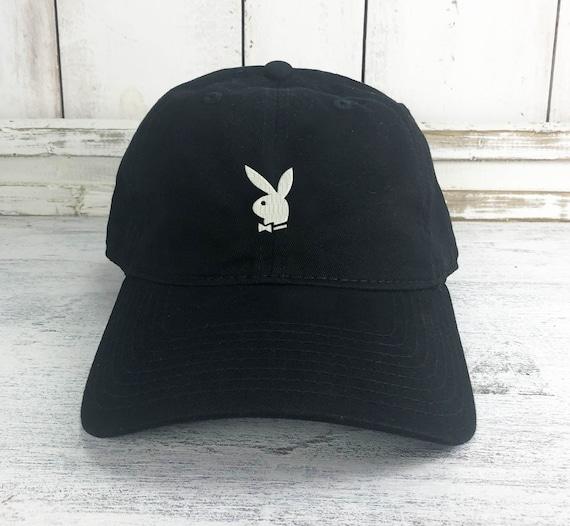 PLAYBOY BUNNY Custom Unstructured Dad Hat Baseball Cap New Black w// White Bunny