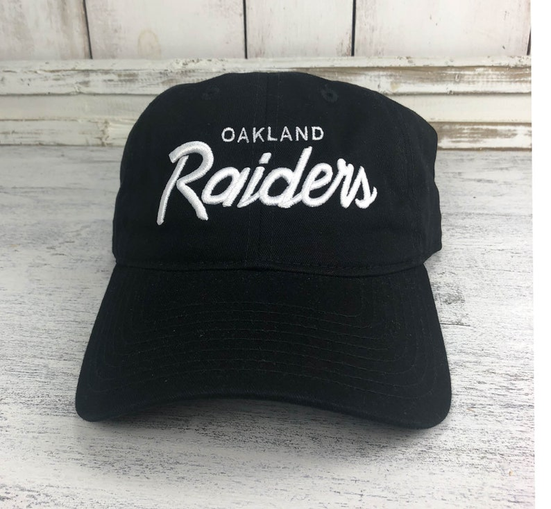 6063b808 Oakland Raiders Vintage Logo Dad Hat / Baseball Cap 80's Retro Raider Nation