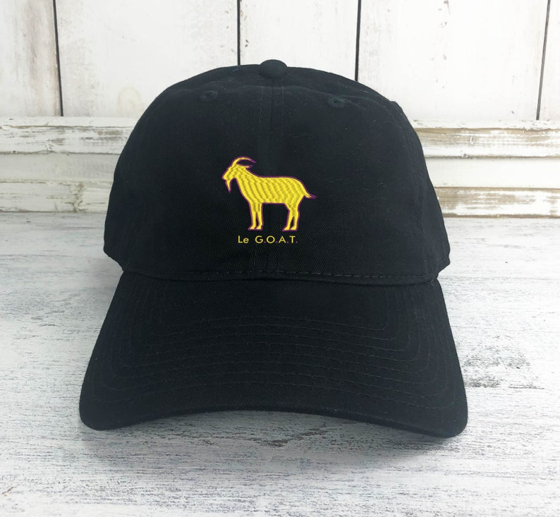 cdec0eee276 Le GOAT Dad Hat Lit Embroidered Baseball Cap Curved Bill 100%
