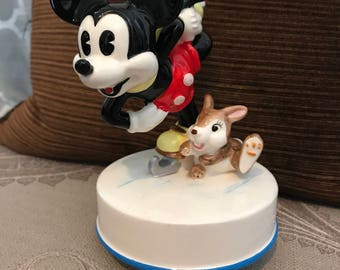 Rare Mickey Mouse Music Box Ceramic Skating