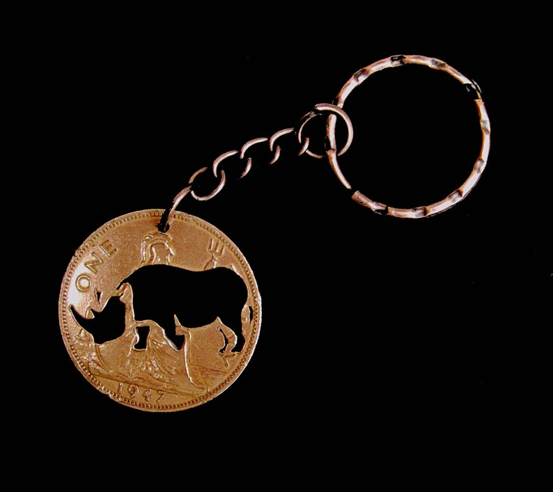 Coin Art - Rhinoceros Animal Image Cut Coin Key Fob/Key Chain - English  Penny Coin