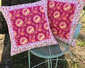 """Set of 18"""" Quilted Pillow Covers, Pink, White, Yellow Throw Pillows, Spring and Summer Decor, Paige's Passion by Moda, Botanical Pillow Sham"""