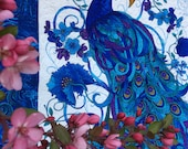 Mother's Day Peacock Lap Quilt,  Mosaic Plume By Chong-A Hwang for Timeless Treasures,  Blue Peacock, Free Shipping in USA only