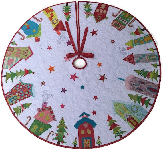Etsy Christmas Tree Skirt: Quilted Christmas Tree Skirt In Custom Sizes Appliqué Tree