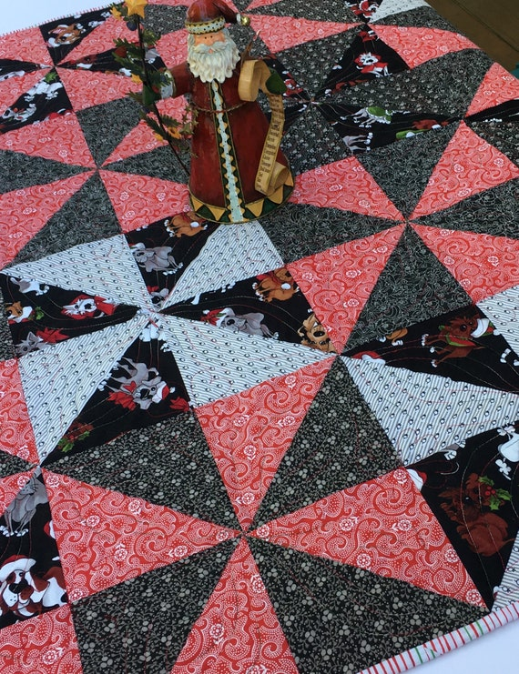 Dogs In Santa Hats Red And Black Christmas Quilt Christmas Etsy