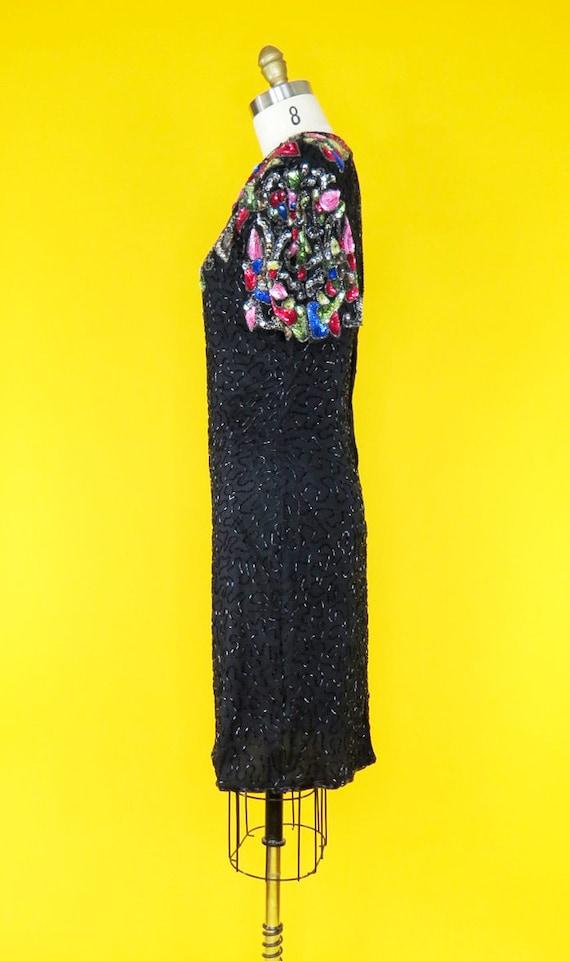 Vintage 1980s Beaded Cocktail Dress - image 3