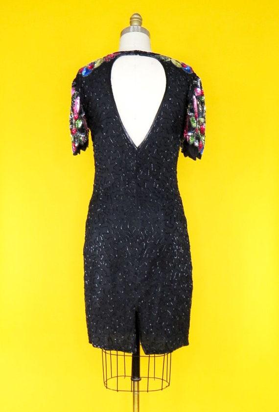Vintage 1980s Beaded Cocktail Dress - image 4
