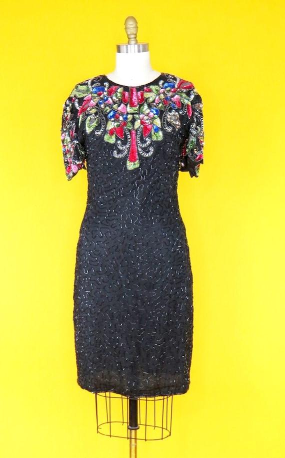 Vintage 1980s Beaded Cocktail Dress - image 1