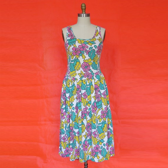 1980s Abstract Tropical Plant Print Dress