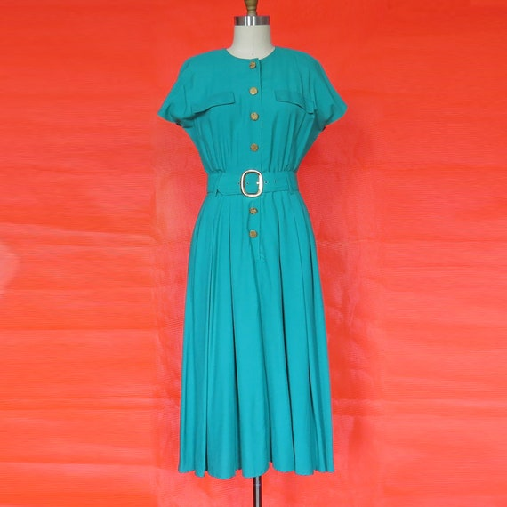 1980s Vintage Teal Day Dress