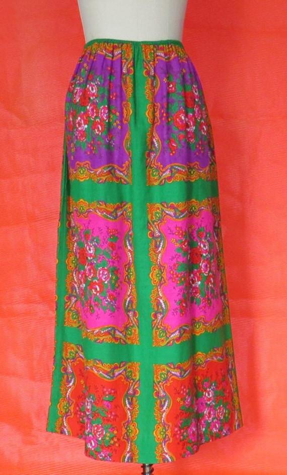 1970s Vintage Paisley & Floral Maxi Skirt