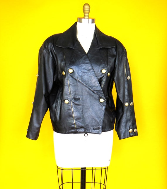 1980s Black & Gold Leather Jacket