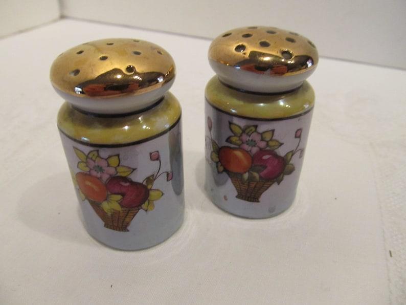 Vintage Aqua Lustreware Salt n Pepper Shakers Japan