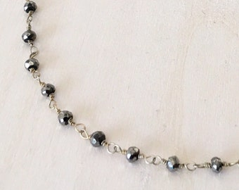 Pyrite Rosary Chain Choker Necklace