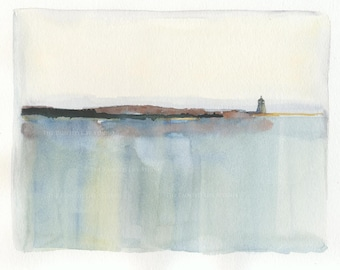Lighthouse Over Reflecting Sea original watercolor, modern abstract seascape, reflections, 8 x 10, matted