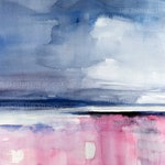 Pink and Grey Abstract Landscape, print of original watercolor painting, modern contemporary art, grays and pinks