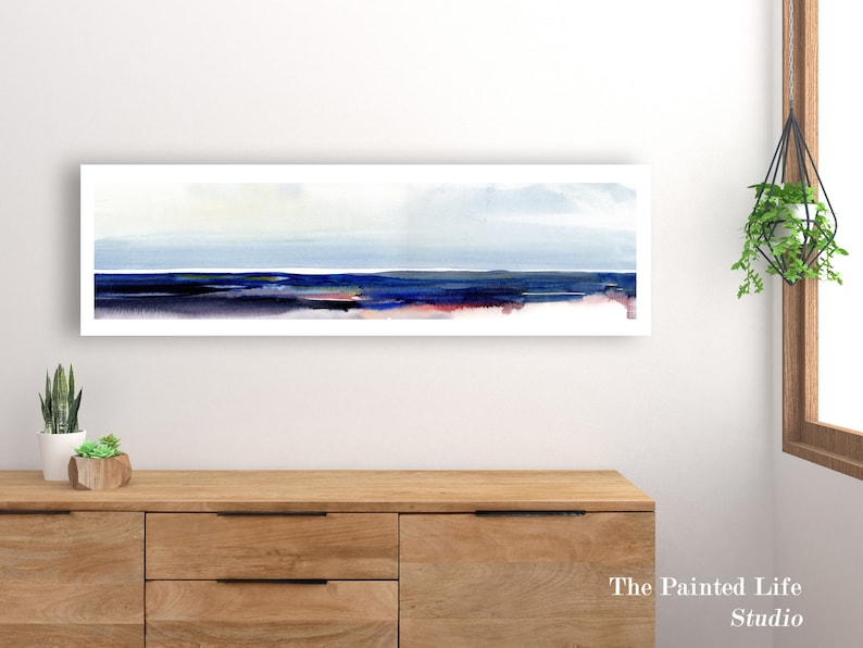 Colorful Panoramic Abstract Landscape art print of original watercolor print wall decor in various sizes