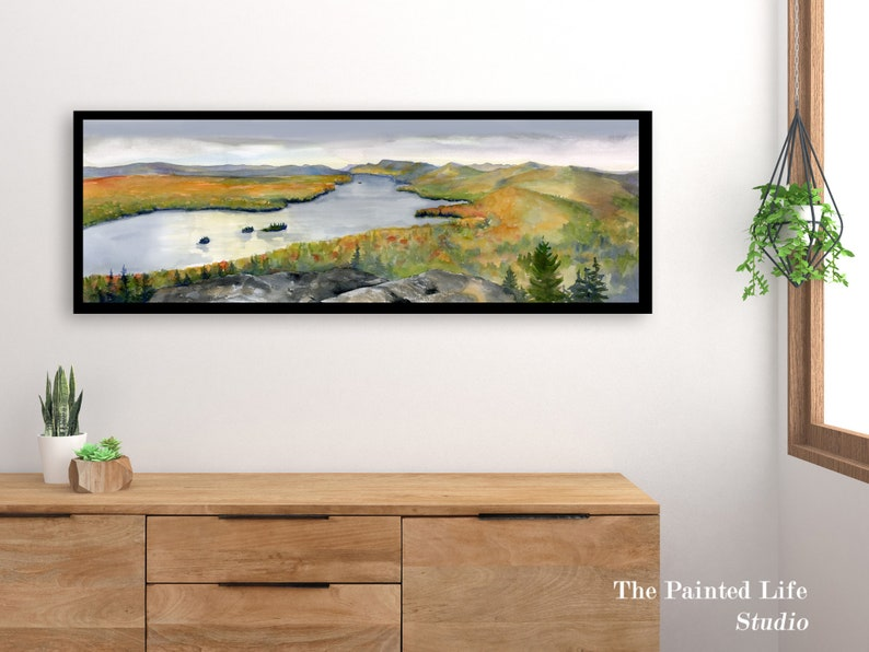 watercolor art in various sizes Adirondack Lake Autumn Art Print Mountains and Lake wall art wide panoramic print of fall foliage