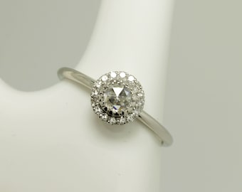 Rose cut diamond halo ring /rose cut diamond ring / rose cut ring / diamond Ladies Halo ring / platinum engagement ring / hatton garden