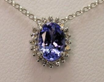 oval Tanzanite .75ct and .08ct Diamond 9ct white gold ladies pendant Hatton garden london