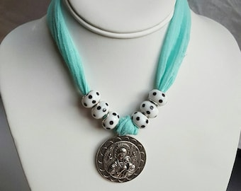 """7"""" Our Lady of Perpetual Help Teal Gauze Choker with White with Black Polka-dotted Pandora-style Glass Beads"""