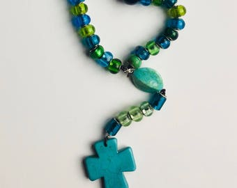 """Turquoise and Green Pandora-Style Beaded Teen Rosary 17.5"""""""