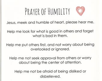 """Prayer of Humilty for Teens Poster 11.5 x 17.25""""- fits 12 x 18"""" frame"""