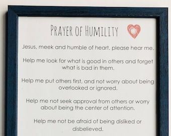 """Prayer of Humility Rustic Blue Wood and Glass 12 x 18"""" Framed- Perfect for Teens!"""