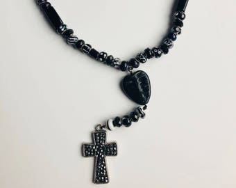 "Black and White Pandora-style Teen Rosary 20"""