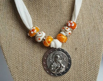 """7"""" Our Lady of Perpetual Help White Choker with Orange and White Pandora-style Glass Beads"""