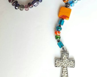 """19"""" Multi-Colored Pandora-Style Glass Beads Rosary with Silver Beaded Cross"""