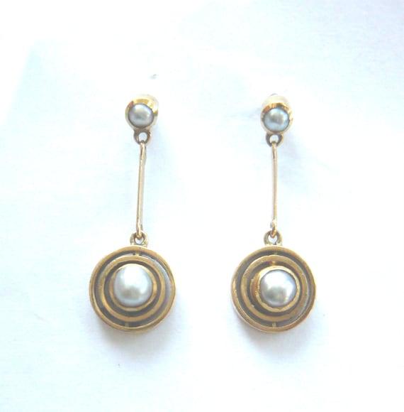 EDWARDIAN 9ct Gold Pearl Drop Earrings | Antique P