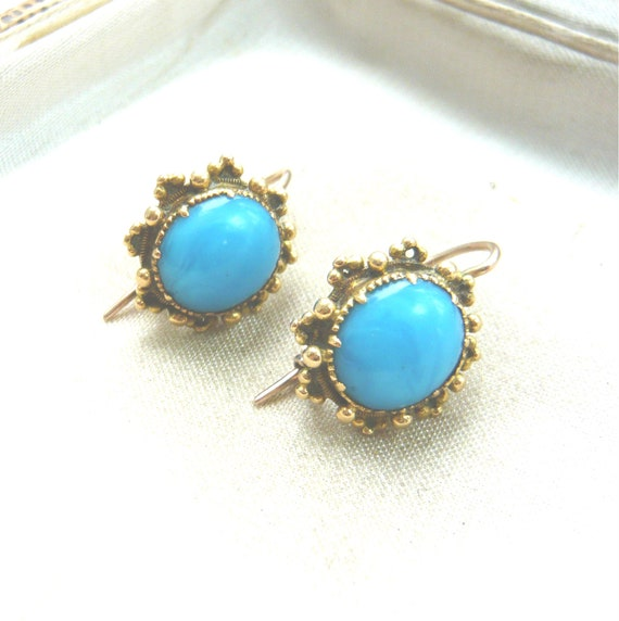 VICTORIAN 18ct Gold Turquoise Glass Earrings | Vi… - image 3