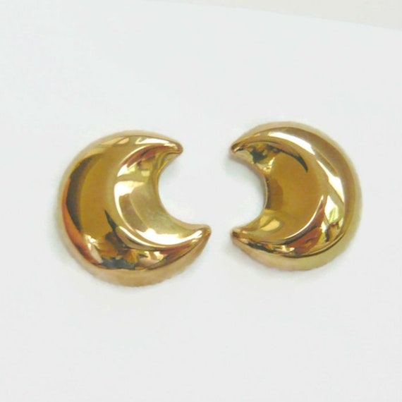 VINTAGE 14kt Gold Puffy Crescent Moon Earrings | L
