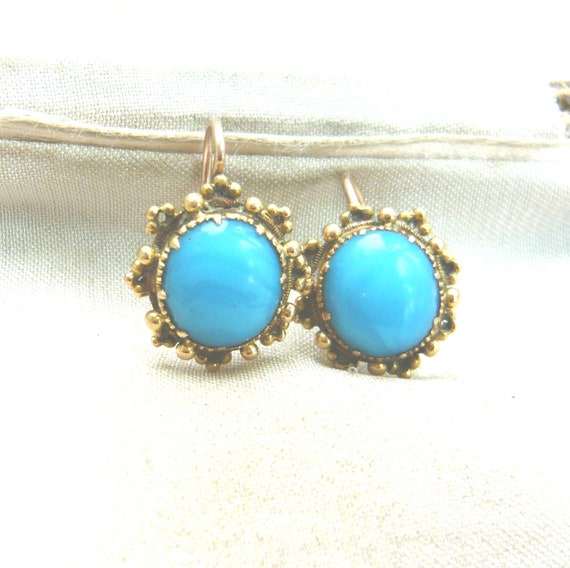 VICTORIAN 18ct Gold Turquoise Glass Earrings | Vi… - image 2