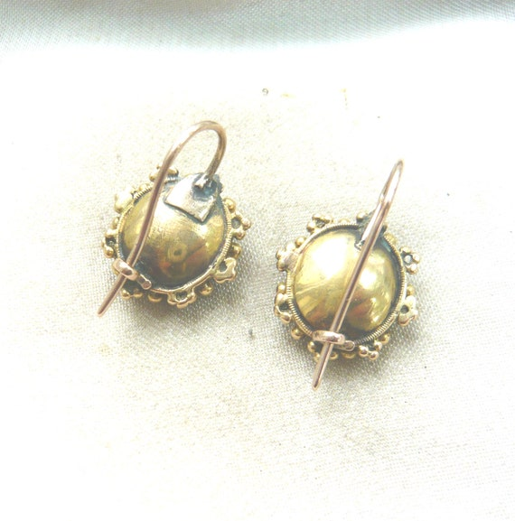 VICTORIAN 18ct Gold Turquoise Glass Earrings | Vi… - image 6