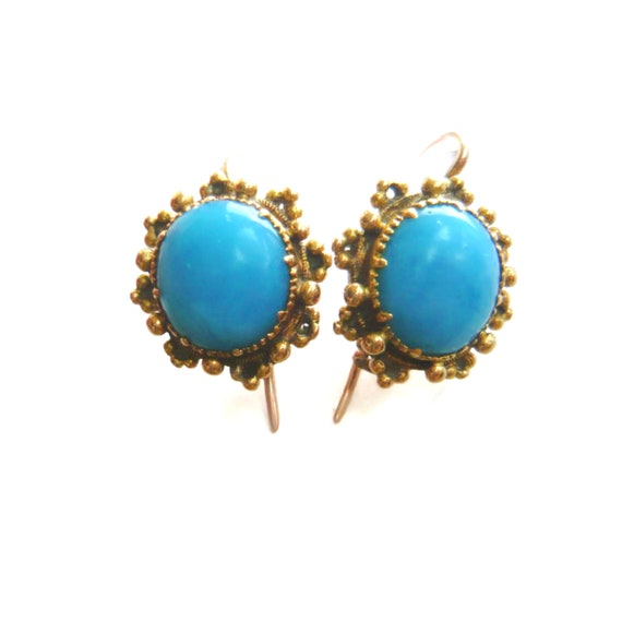 VICTORIAN 18ct Gold Turquoise Glass Earrings | Vi… - image 1