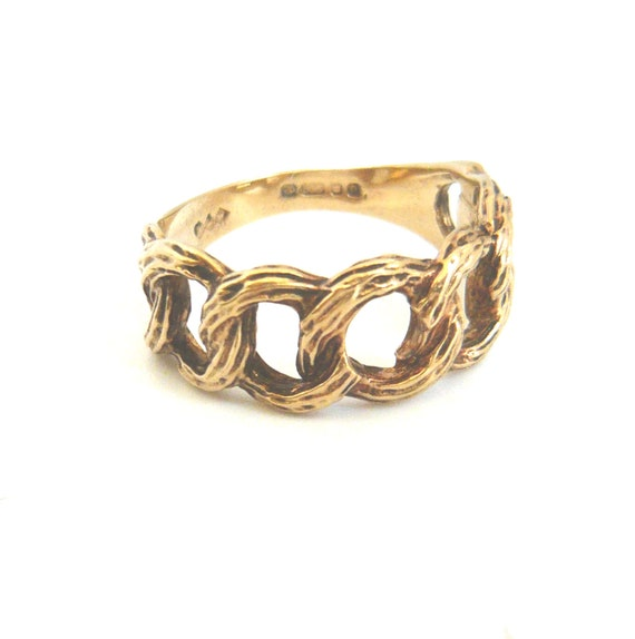VINTAGE 9ct Gold 1970s Chain Design Ring   Gold Ch