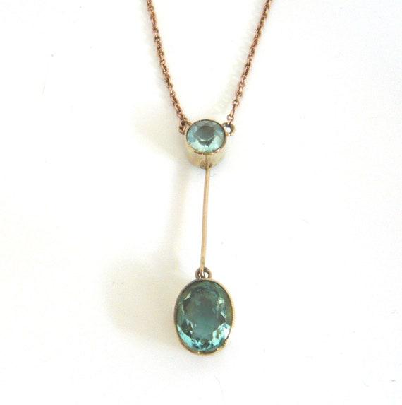 EDWARDIAN 9ct Gold Blue Paste Lavalier Necklace |