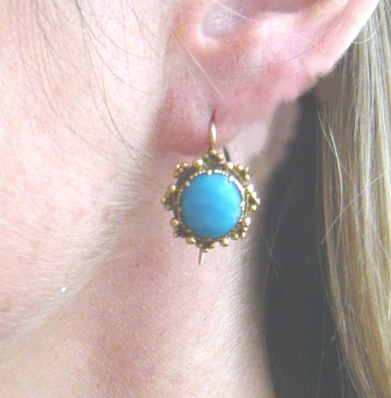 VICTORIAN 18ct Gold Turquoise Glass Earrings | Vi… - image 4