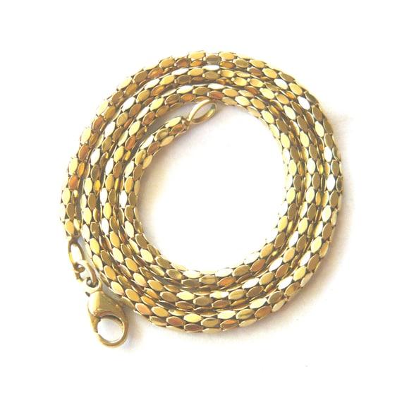 "VINTAGE 9ct Gold Snake Link Chain Necklace | 15.5"""