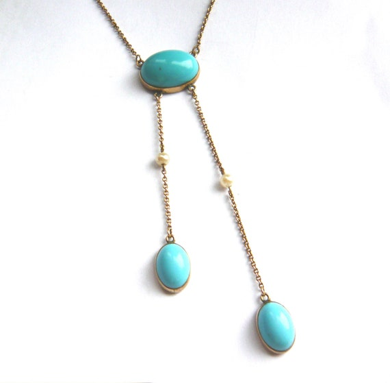 EDWARDIAN 9ct Gold Turquoise Paste & Pearl Neglige