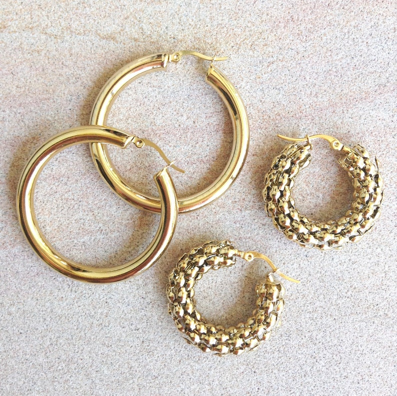 5cm Diameter Thick Minimalist FLORENCE Hoops Gold Earrings Gold Hollow Hoops Gold Hoop Earrings Chunky Hollow Large Hoops