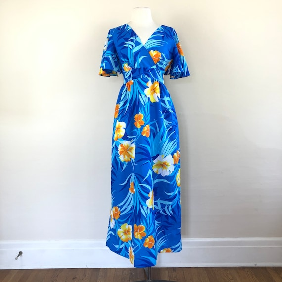 vintage 60s Hawaiian maxi dress | flutter sleeve … - image 2