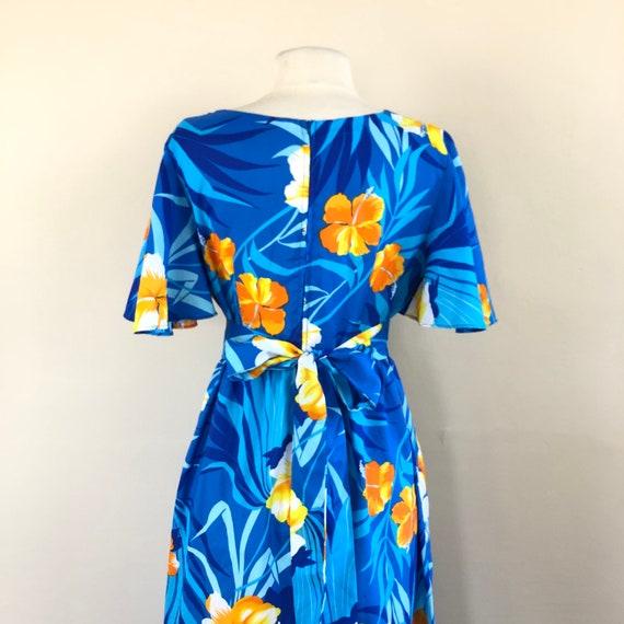 vintage 60s Hawaiian maxi dress | flutter sleeve … - image 4